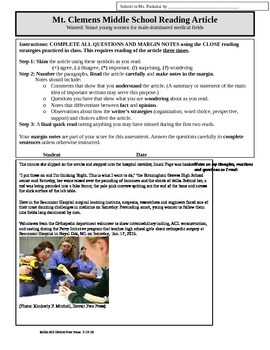 Middle School Close Reading Activity (female scientists #2)