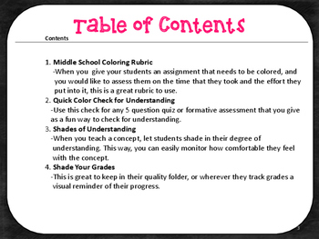 Middle School Coloring Resources