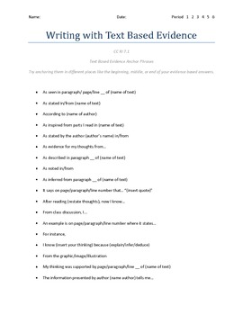Middle School Commom Core Evidence Based Writing