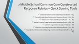 Middle School Common Core Constructed Response Rubrics - Quick Scoring Tools