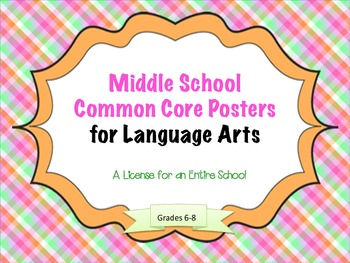Middle School Common Core Posters for Language Arts:  A School License