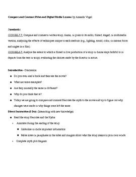 Middle School Compare & Contrast Mini Lesson (digital media vs traditional)