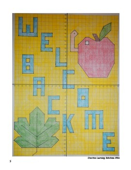 Middle School Coordinate Plane Graphing Activity: Welcome Back Greeting