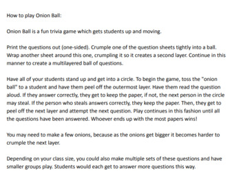Middle School Critical Thinking Quiz Bowl Trivia Game - 30 questions & key