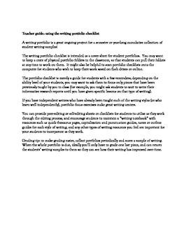 Middle School Cumulative Writing Portfolio Student Checklist