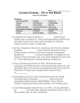 Middle School Current Event Cloze activity for 2nd week of March!