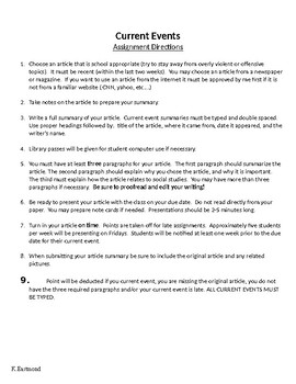 Middle School Current Event Directions