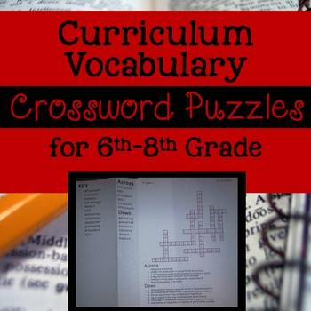 6th-8th Grade Curriculum Vocab Crossword Puzzles CCSS Aligned