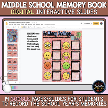 Middle School DIGITAL Memory Book: End of School Year Activity