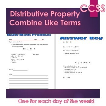 Middle School Daily Math Exit Slip/Warm-Up: Distribute and Combine Like Terms