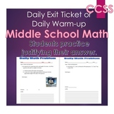 Middle School Daily Math Exit Slip/Warm-Up: Exponents and Order of Operations