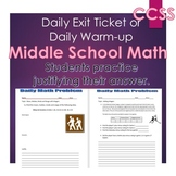 Middle School Daily Math Exit Slip/Warm-Up: Integers & Mean, Median, Mode