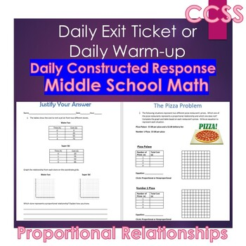 Middle School Daily Math Exit Slip/Warm-Up: Proportional Reasoning