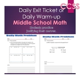 Middle School Daily Math Exit Slip/Warm-Up: Solving Inequalities