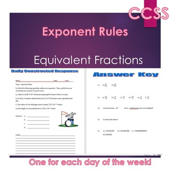 Middle School Daily Math Exit Slip/Warm-Up:Equivalent Fractions & Exponent Rules