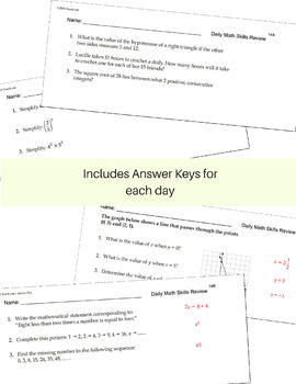 Middle School Daily Math Skills Review BUNDLE