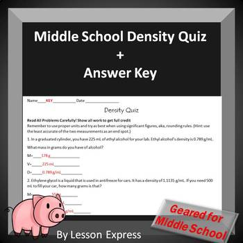 Middle School Density Quiz - with answer key