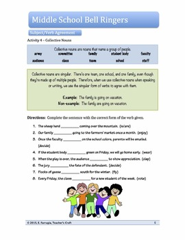 Middle School ELA Bell Ringers - Basic Subject-Verb Agreement
