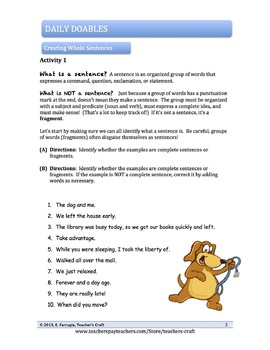 Middle School ELA Bell Ringers - Complete Sentences