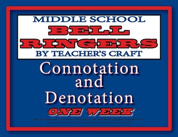 Middle School ELA Bell Ringers - Connotation and Denotation