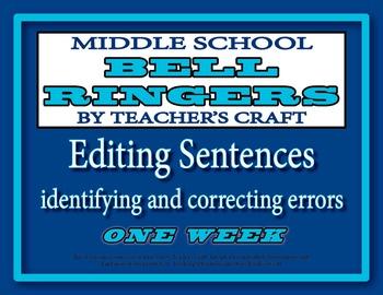 Middle School ELA Bell Ringers - Editing Sentences