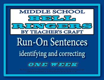 Middle School ELA Bell Ringers - Run On Sentences