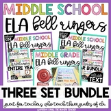 Middle School ELA Bell Ringers Three Volume Bundle
