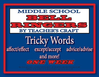 Middle School ELA Bell Ringers - Tricky Words