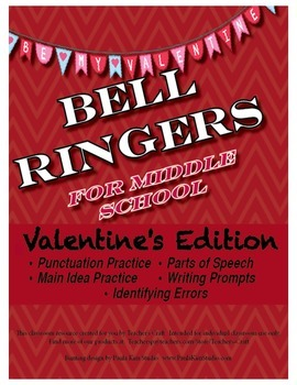 Middle School ELA Bell Ringers - Valentine's Day Edition