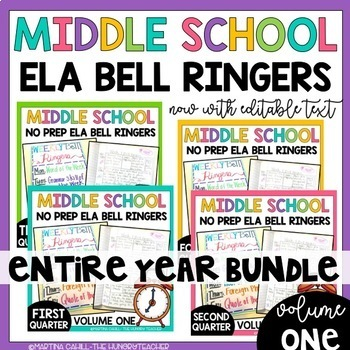 Middle School ELA Bell Ringers Volume One and Two Bundle