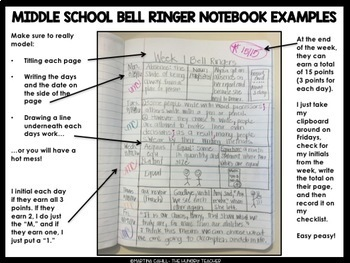 Middle School ELA Bell Ringers and Warm-Ups (Volume 1-Three Free Weeks)