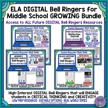 Middle School ELA DIGITAL Bell Ringers Bundle