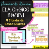 Middle School ELA End of Year Review: Standards Choice Board- Distance Learning