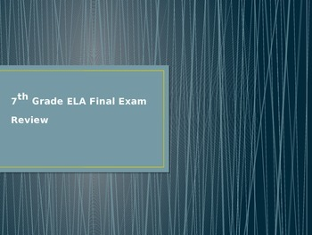 Middle School ELA Final Exam Review PowerPoint (editable)