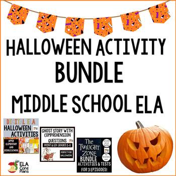 Middle School ELA Halloween Activities Bundle