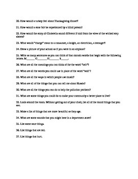 Middle School ELA Journal prompts