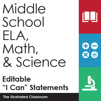 Middle School ELA, Math, and Science I Can Statements Bundle