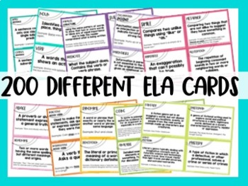 Middle School ELA Personal Reference Cards {6th, 7th, and 8th CCSS}