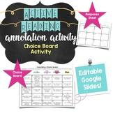 Middle School ELA Reading Activity: Annotation Choice Board