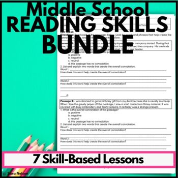 Middle School ELA Skills: Central Idea, Theme, Connotation, Writing, Summary,