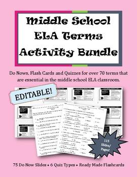 Middle School ELA Terms Activity Bundle || Do Nows, Flash Cards & Quizzes