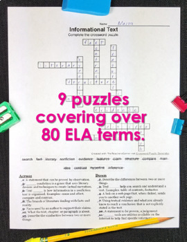 ELA Worksheets Vocabulary Crossword Puzzles