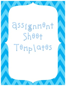 Middle School ELAR Assignment Sheets