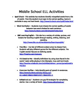 Middle School ELL LA/Reading Websites