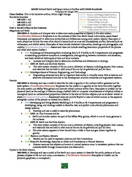 Middle School Earth and Space Science Outline with NGSS Standards