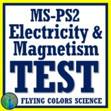 Middle School Electricity & Magnetism TEST Assessment NGSS MS-PS2-3 & MS-PS2-5
