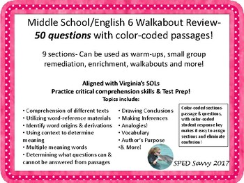 Middle School/ English 6 Walkabout Review- 50 questions color-coded passages!
