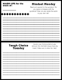 Middle School English Daily Theme Warm-Up Form
