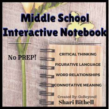 Middle School English Language Arts Interactive Notebook Bundle - No Prep!