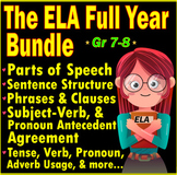 Middle School English Language Arts Resources | Year Long Growing Bundle | ELA